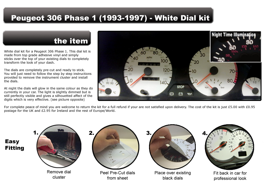 peugeot 306 phase 1 1993 1997 140mph petrol or diesel white dial kit ebay. Black Bedroom Furniture Sets. Home Design Ideas